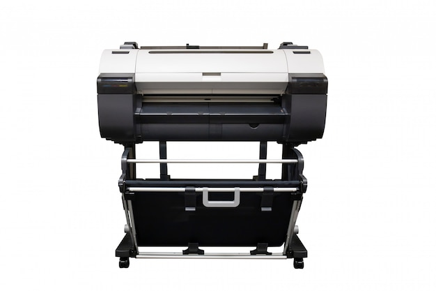 Impressora jato de tinta de grande formato isolado no fundo branco