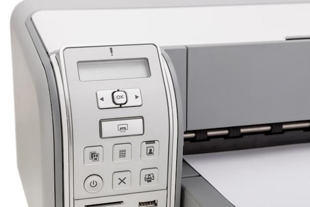 Impressora para impressão de texto closeup. educação e escritório.