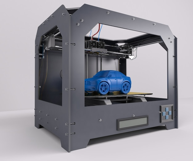 Imprimindo um carro azul
