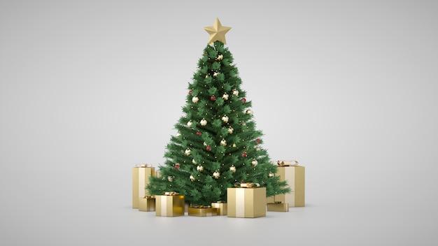 Incrível árvore de natal de luxo com caixas de presente dourado