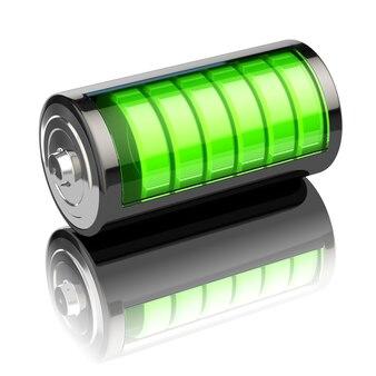 Indicador de nível de carga da bateria isolado no branco