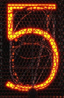 Indicador de tubo nixie, close-up do indicador de descarga de gás da lâmpada. número cinco do retro. renderização 3d.