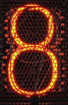 Indicador de tubo nixie, close-up do indicador de descarga de gás da lâmpada. número oito do retro. renderização 3d.