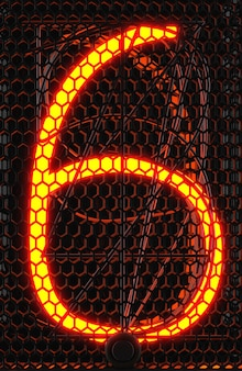Indicador de tubo nixie, close-up do indicador de descarga de gás da lâmpada. número seis do retro. renderização 3d.