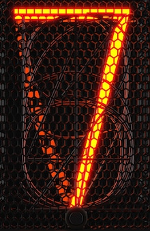 Indicador de tubo nixie, close-up do indicador de descarga de gás da lâmpada. número sete do retro. renderização 3d.
