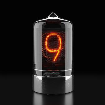 Indicador de tubo nixie, indicador de descarga de gás da lâmpada em superfície escura. o número nove do retro. renderização 3d.