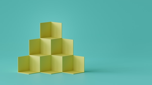 Indicador do contexto das caixas do cubo no fundo da parede vazia. renderização em 3d.