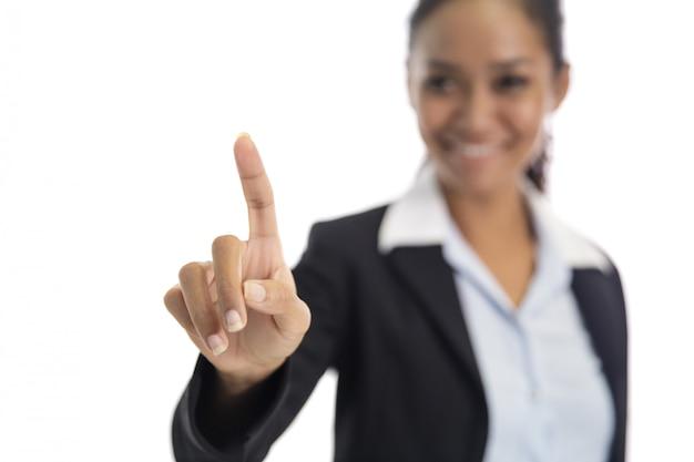 Indicadores asiáticos da mulher de negócios que fingem como a tela tocante