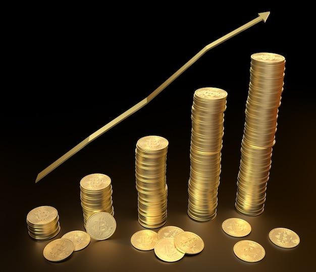 Índice de aumento da inflação torre ascendente de bitcoins moedas de ouro que indicam a ascensão do dinheiro