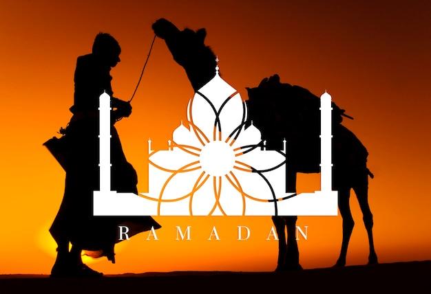 Indígena homem indiano com seu camelo.
