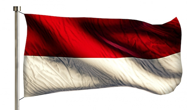 Indonésia monaco national flag isolated 3d fundo branco