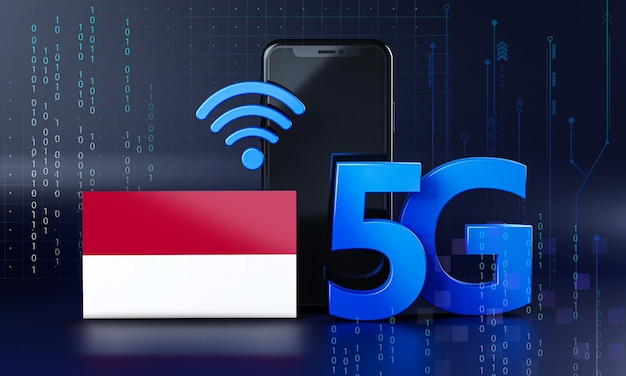 Indonésia pronta para o conceito de conexão 5g. fundo de tecnologia de smartphone de renderização 3d