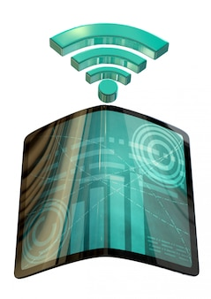 Indústria 4.0, tablet futurista, com tela flexível