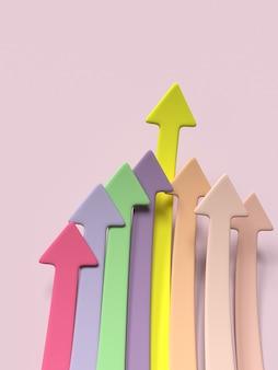 Infográfico seta setas de crescimento, sucesso, volume de vendas, aumento ilustração 3d