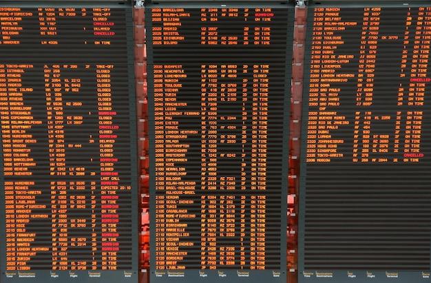 Informações sobre a placa de voo do aeroporto