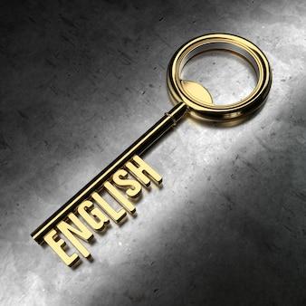 Inglês - chave dourada sobre fundo preto metálico. renderização 3d