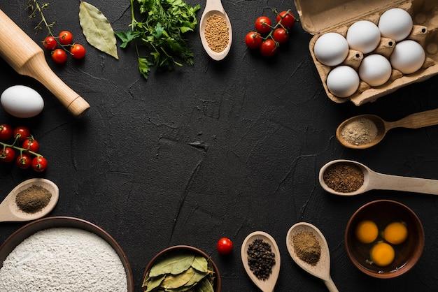 Ingrediente variado para cozinhar