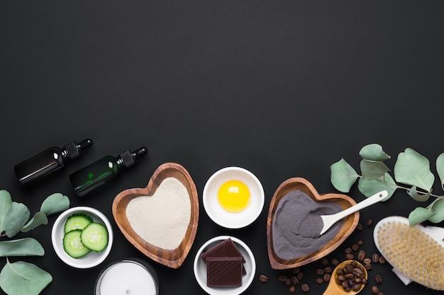 Ingredientes cosméticos da natural beauty para o cuidado do corpo e da pele. cosméticos orgânicos diy e conceito de spa.