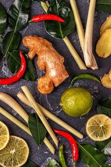 Ingredientes da comida tailandesa picante