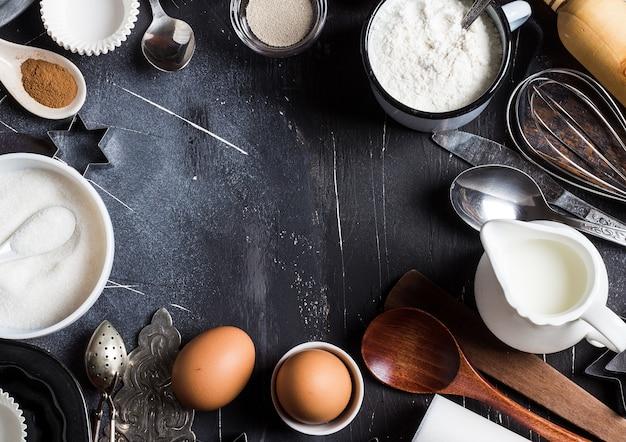 Ingredientes da cozinha cozimento preparação para cozinhar quadro