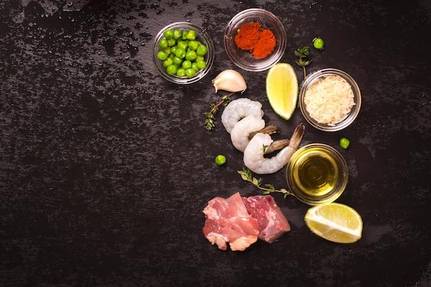 Ingredientes da paella espanhola