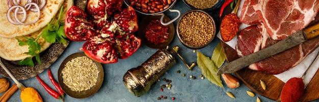 Ingredientes da tradição árabe ou do oriente médio, configuração plana