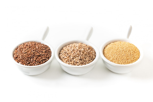 Ingredientes de alimentos saudáveis 3 tipos de grãos sem glúten flax