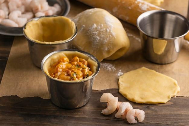 Ingredientes de alto ângulo para comida brasileira