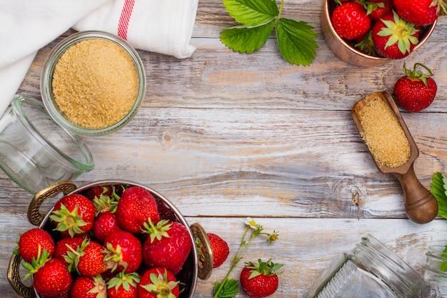 Ingredientes de geléia de morango