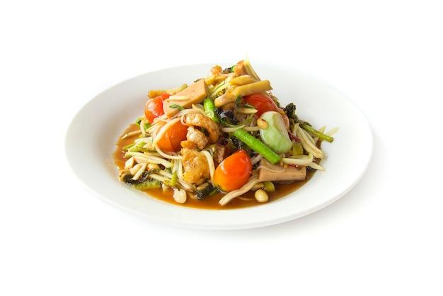 Ingredientes de mistura de salada de papaia picante (tum pha poo pla ra)