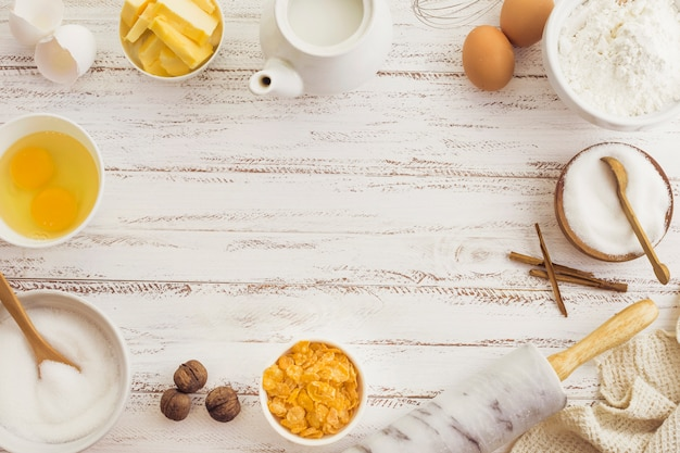 Ingredientes de preparação de pastelaria