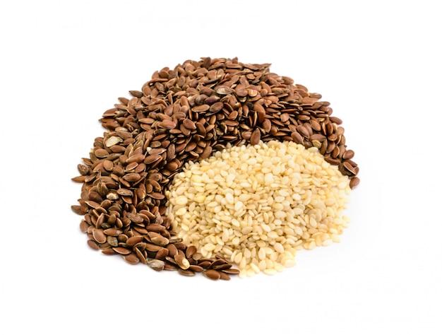 Ingredientes de sementes de linho e gergelim para a padaria