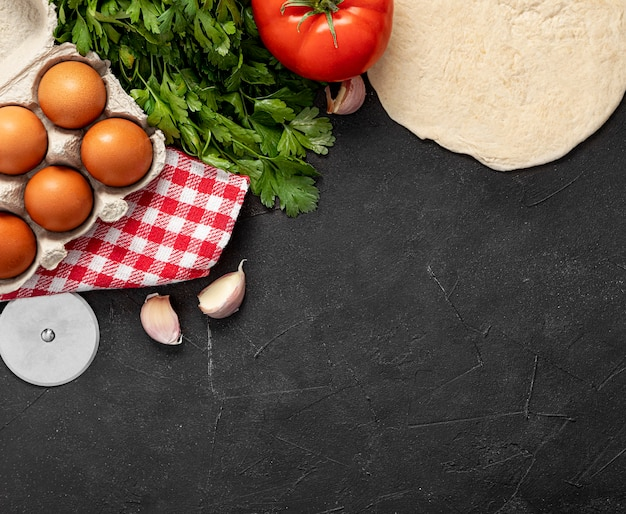 Ingredientes do espaço da cópia para pizza