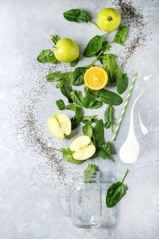 Ingredientes do smoothie verde