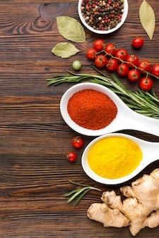 Ingredientes e especiarias para cozinhar