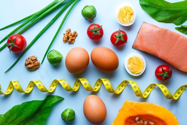 Ingredientes e produtos cetogênicos para nutrição saudável e adequada e perda de peso. conceito de dieta baixa em carboidratos e ceto. fibra, alimentos limpos e equilibrados