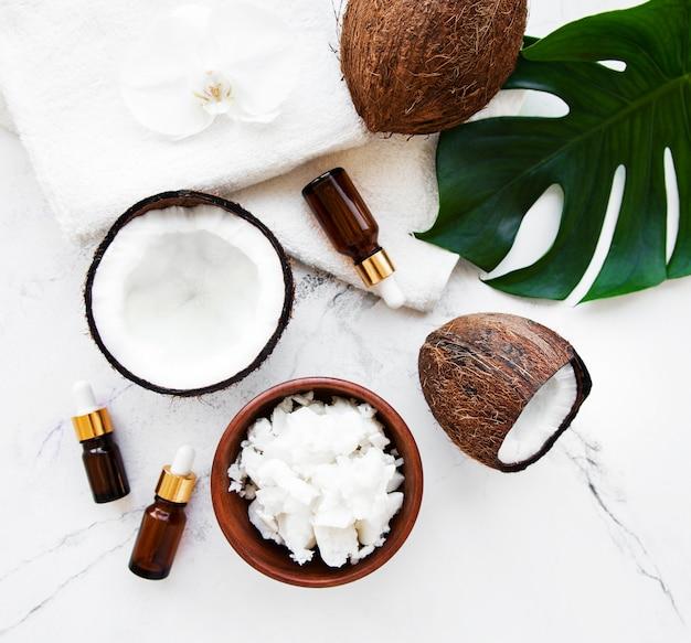 Ingredientes naturais de spa de coco
