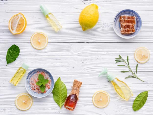 Ingredientes naturais de spa e esfoliação corporal.