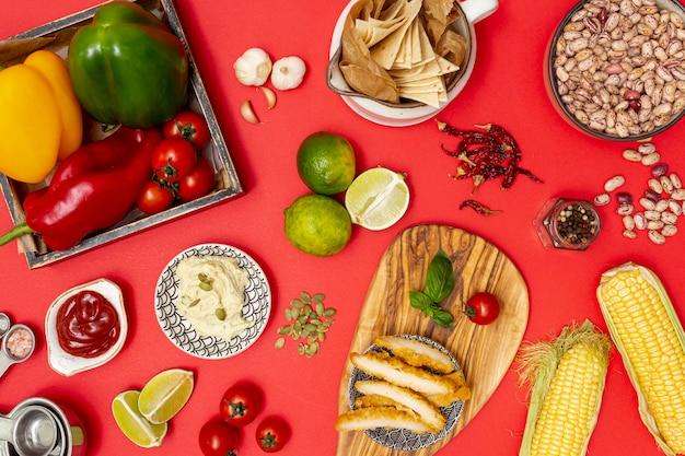 Ingredientes orgânicos frescos para cozinha mexicana