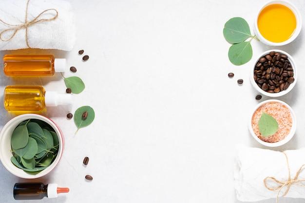Ingredientes orgânicos frescos para esfoliação caseira