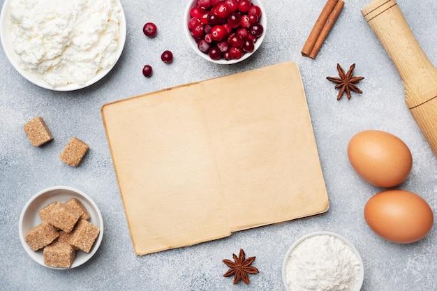 Ingredientes para assar biscoitos, cupcakes e bolo