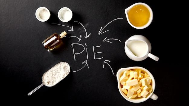 Ingredientes para assar bolo, torta, bolo ou muffin.