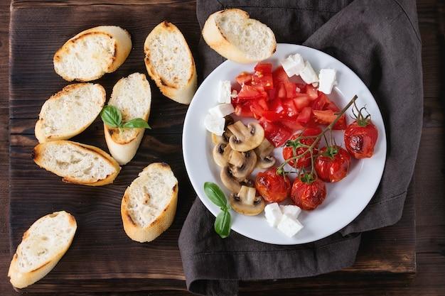 Ingredientes para bruschetta