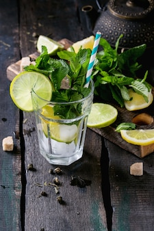 Ingredientes para chá verde gelado