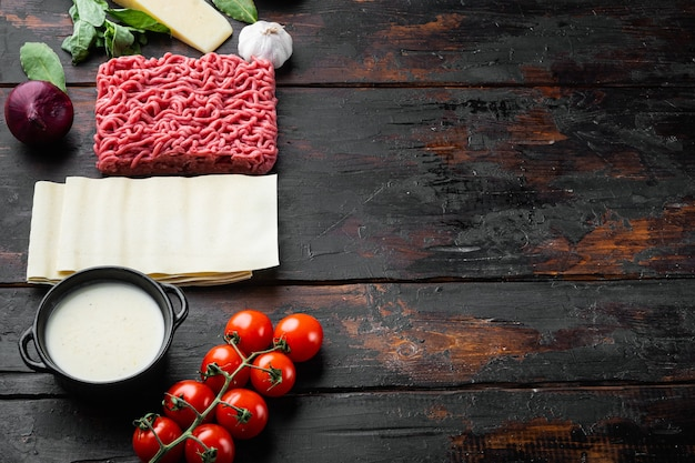 Ingredientes para cozinhar lasanha. receita de lasanha italiana caseira com molho de tomate