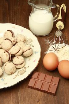 Ingredientes para fazer biscoitos baci di dama