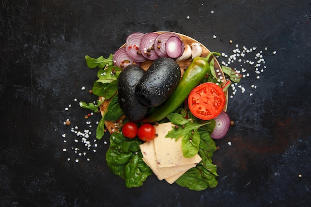 Ingredientes para hambúrguer vegetariano