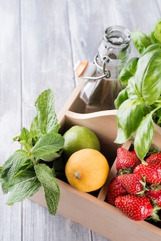 Ingredientes para limonada caseira de morango