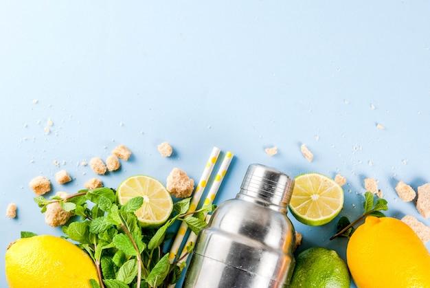 Ingredientes para o mojito de coquetel em um fundo azul claro