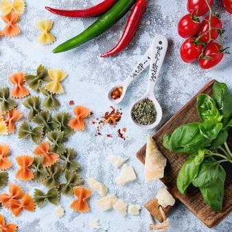 Ingredientes para o molho de macarrão